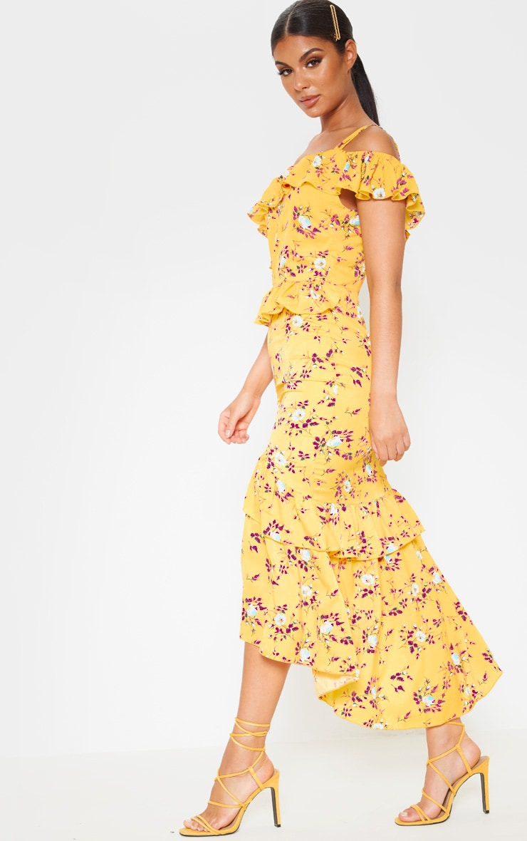 Yellow Floral Print One Shoulder Chiffon Midi Dress 4