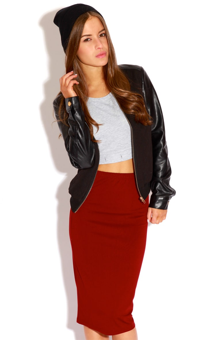 Marie Burgundy Basic Midi Skirt 4