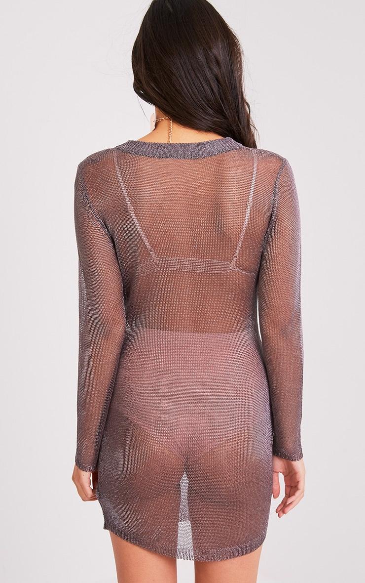 Acallia robe pull surdimensionné en maille étain métallisé 2
