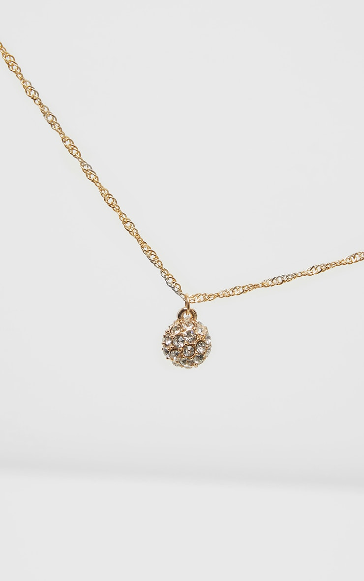 Gold Twist Pave Ball Charm Necklace 3