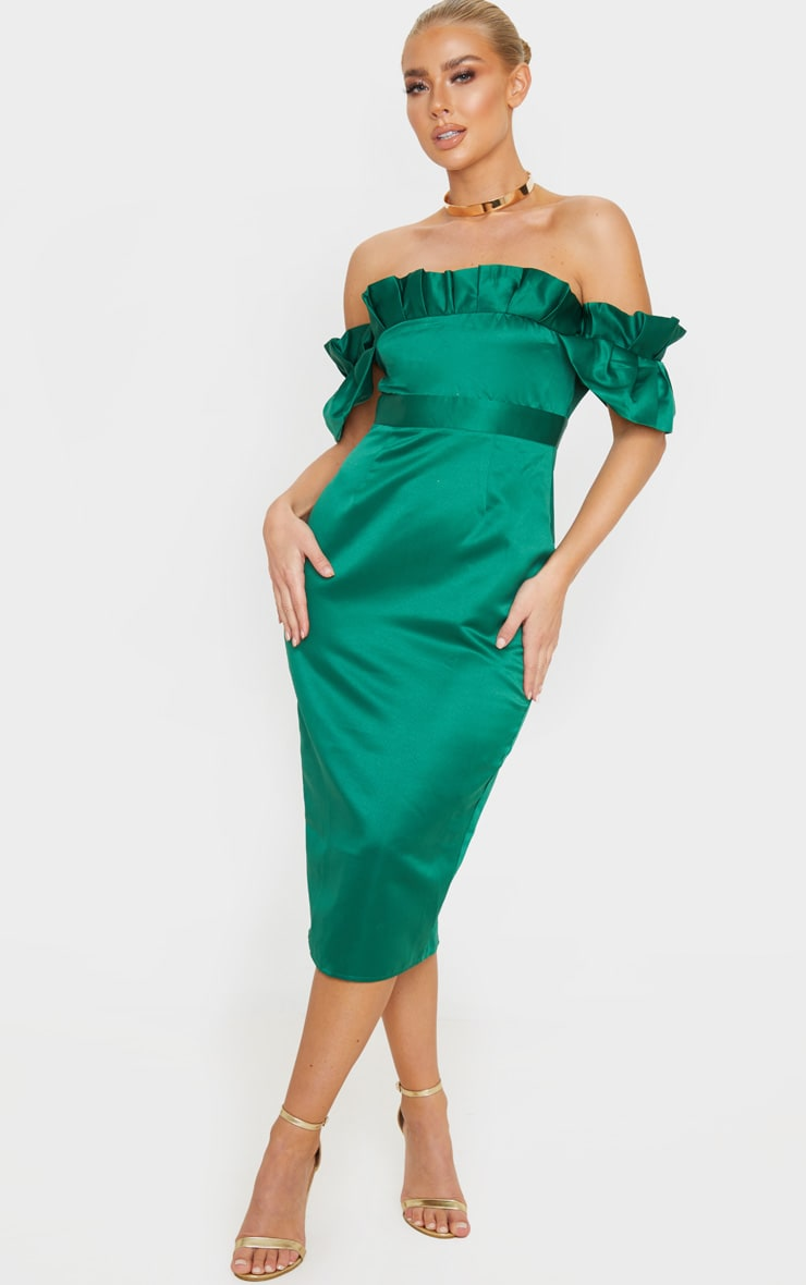 Emerald Green Bonded Satin Bardot Pleated Detail Midi Dress 1