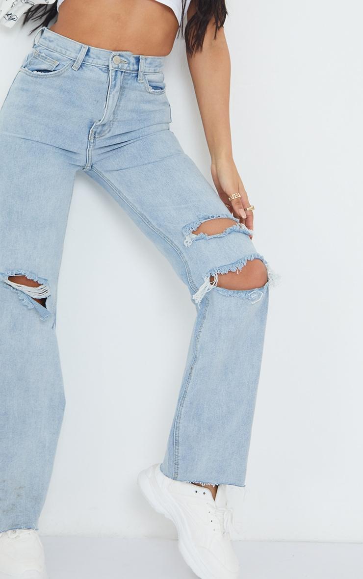 Vintage Wash Distressed Raw Hem Wide Leg Jeans 4