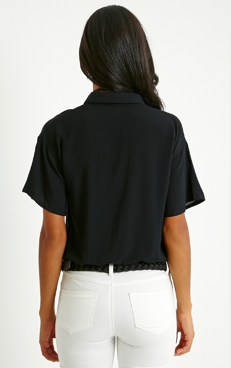 Hebe Black Button Front Shirt 3