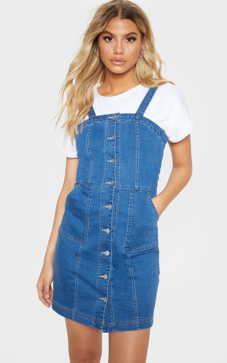 Mid Wash Button Through Midi Denim Dress 1