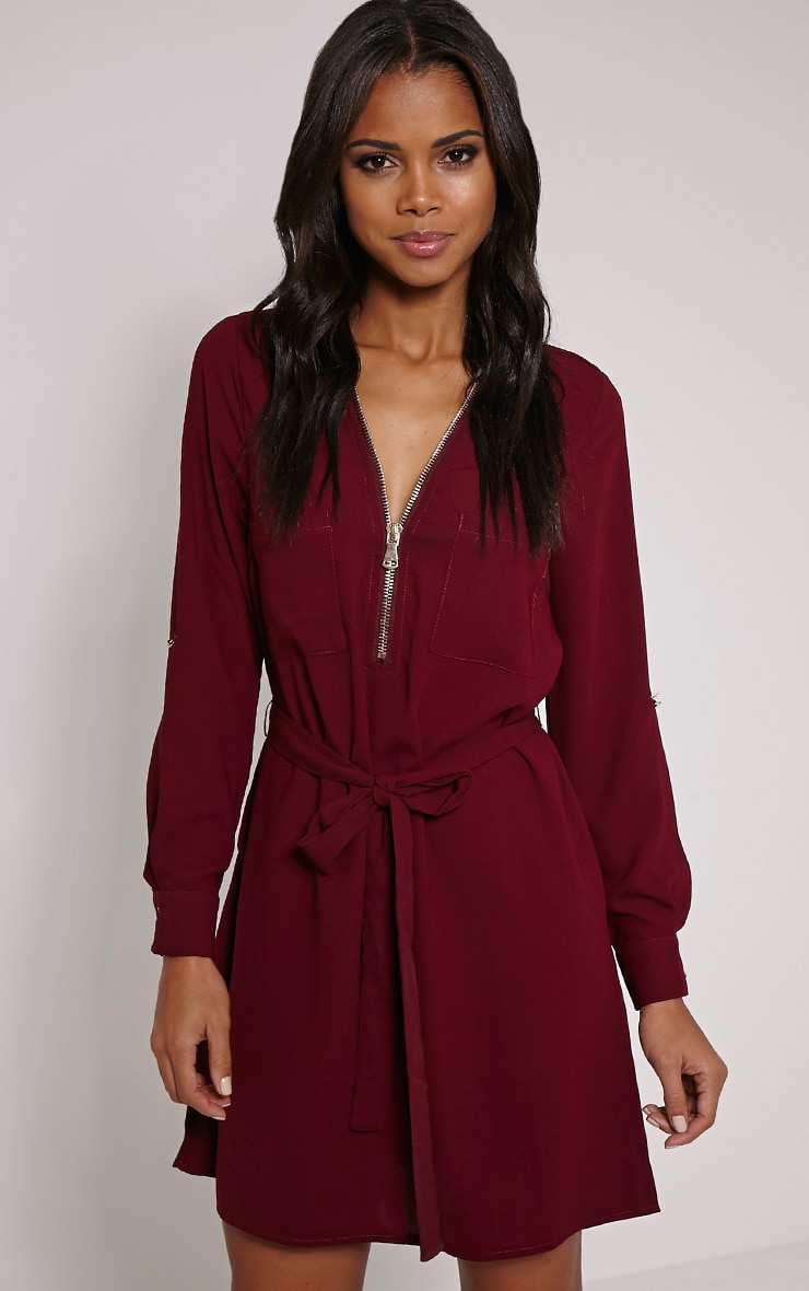 Lennie Berry Zip Front Shirt Dress 1