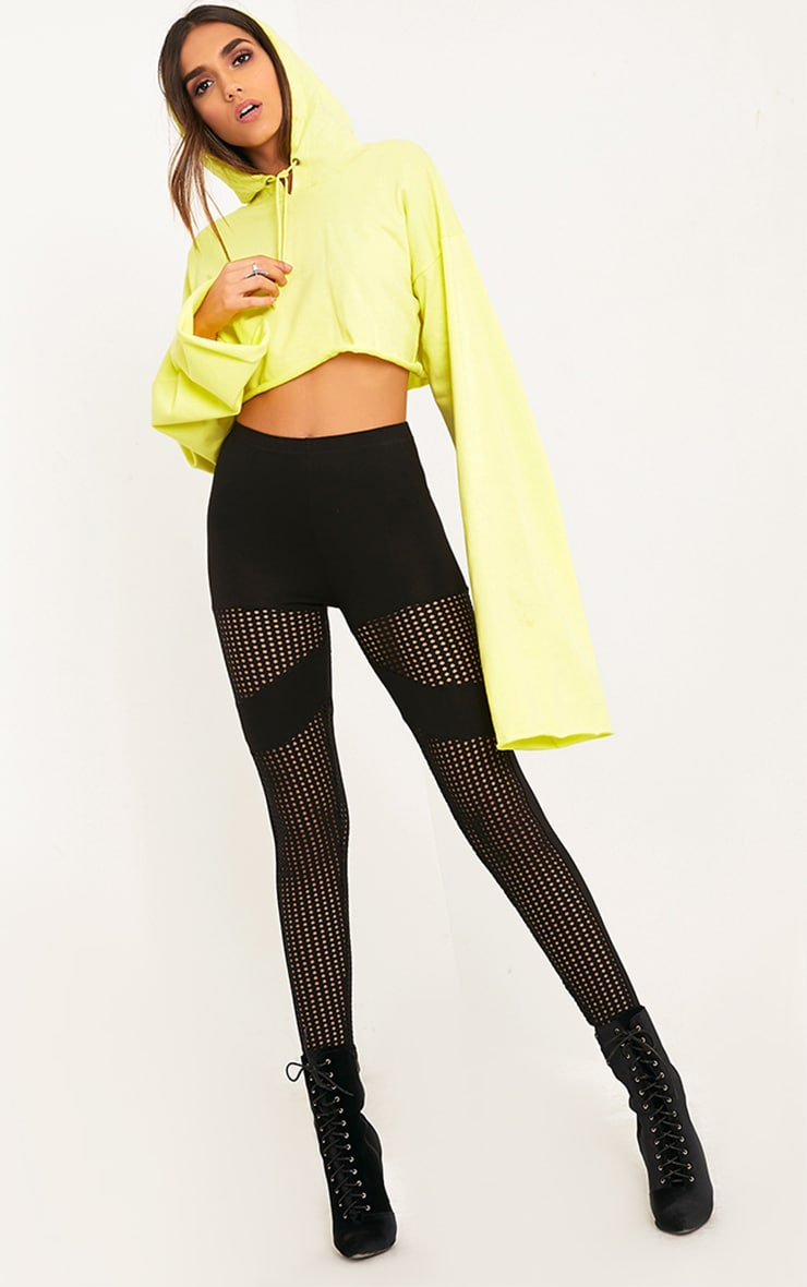 Johana Black Fishnet Panel Leggings 1