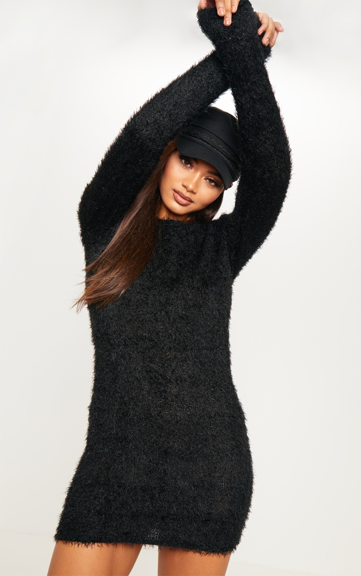 eb07e531c44 Tall Black Fluffy Knit Jumper Dress image 1