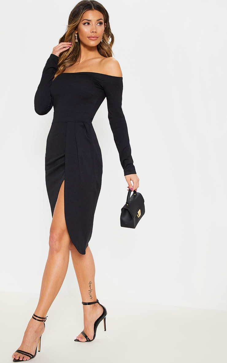 Black Long Sleeve Bardot Wrap Midi Dress 4