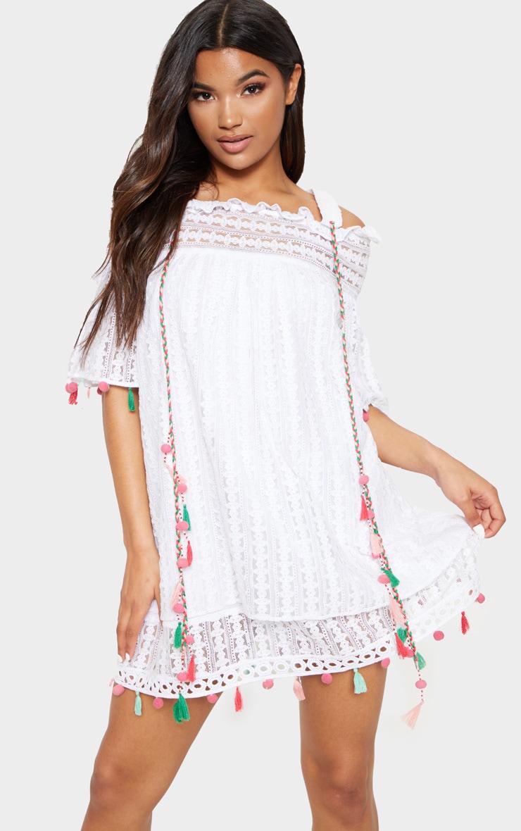 White Strappy Crochet Trim Pom Pom Smock Dress 5