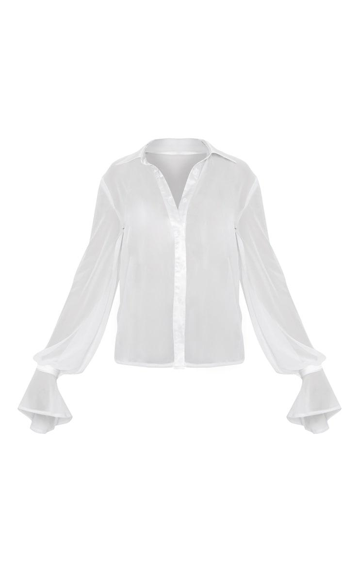 White Chiffon Frill Cuff Shirt 3