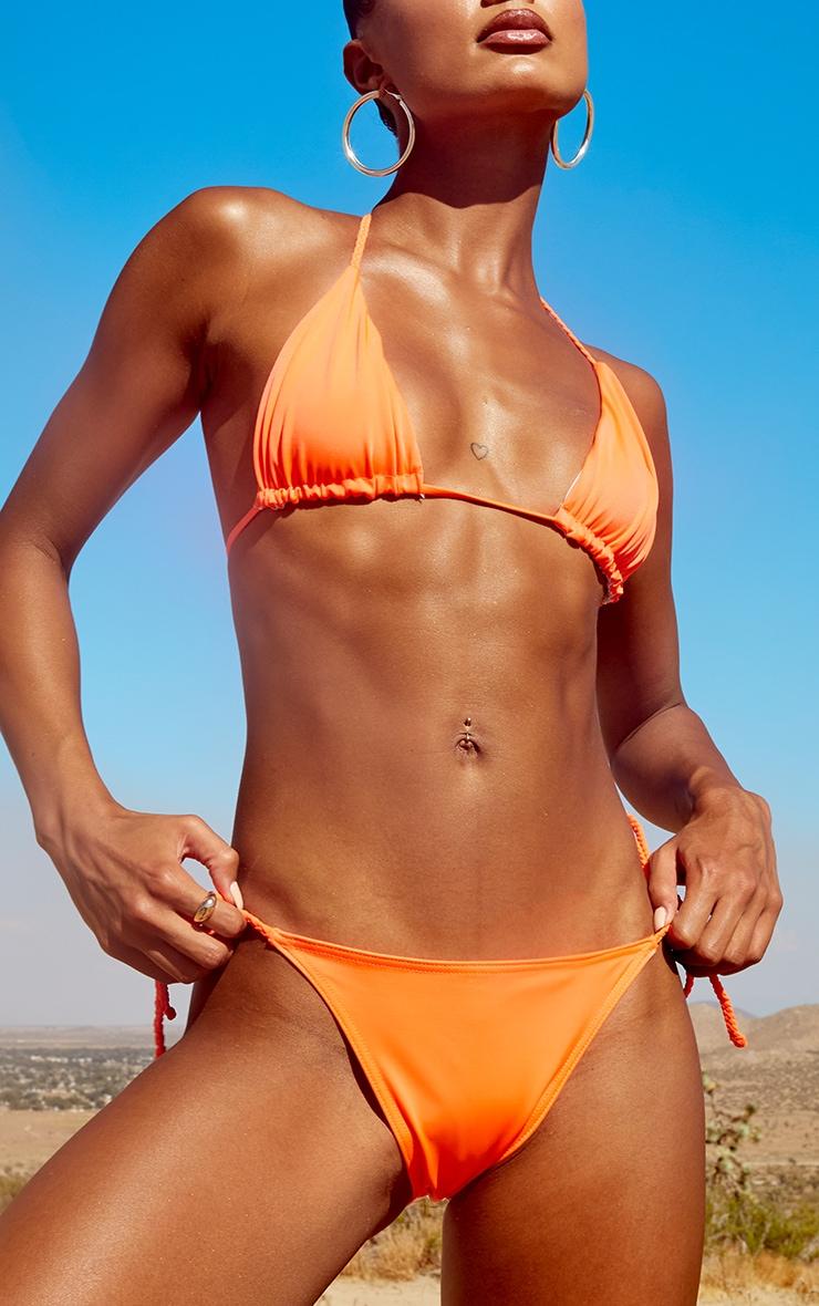 Orange Recycled Plait Tie Side Bikini Bottom 1