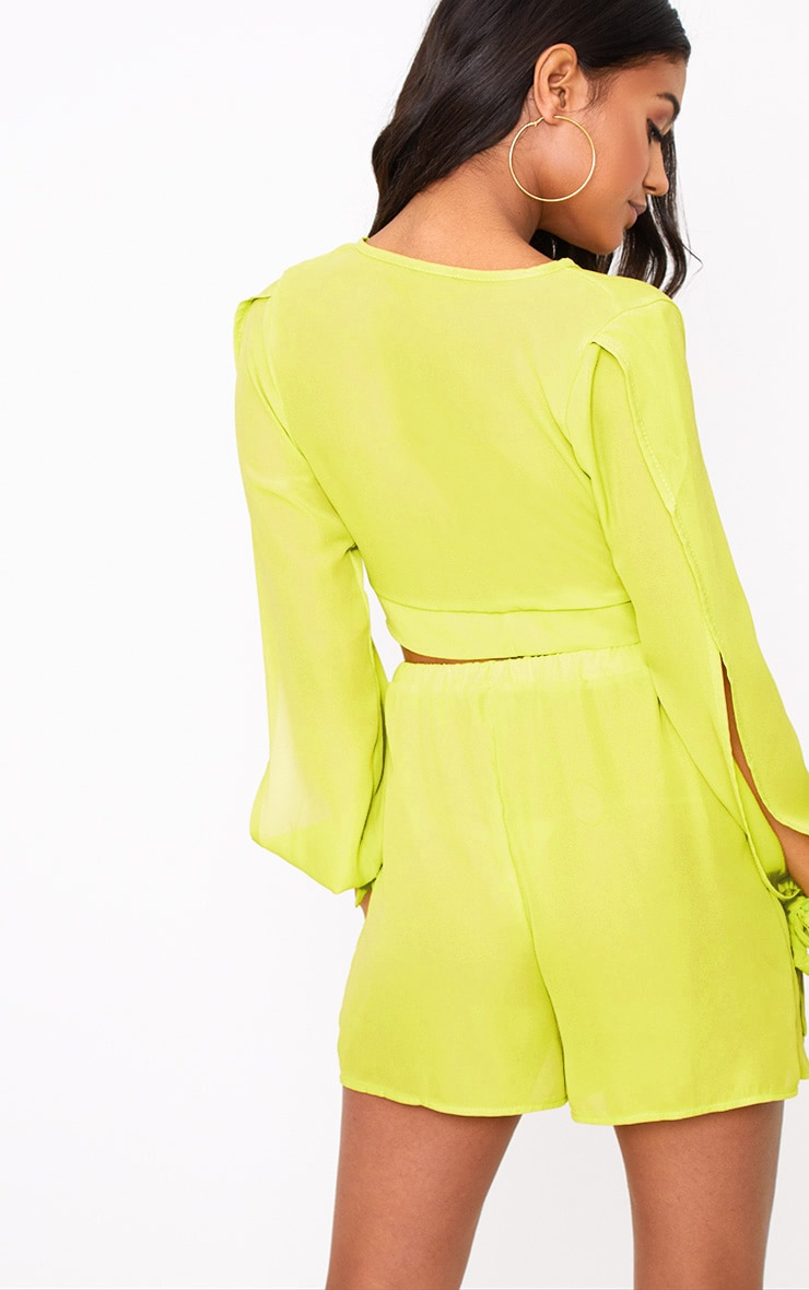 Lime Sheer Woven Open Sleeve Tie Front Top  2