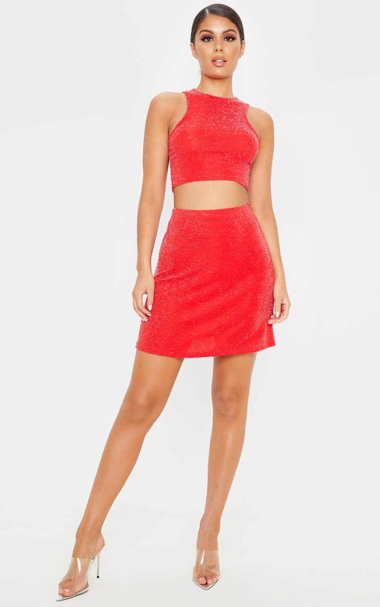 Red Texture Glitter Racer Top And A Line Skirt Set 4