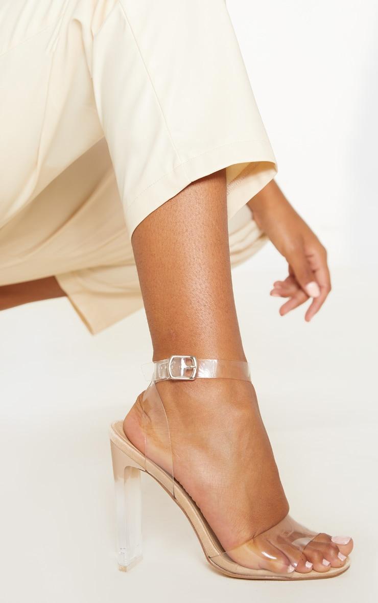 Sandales carrées nude à talons 1