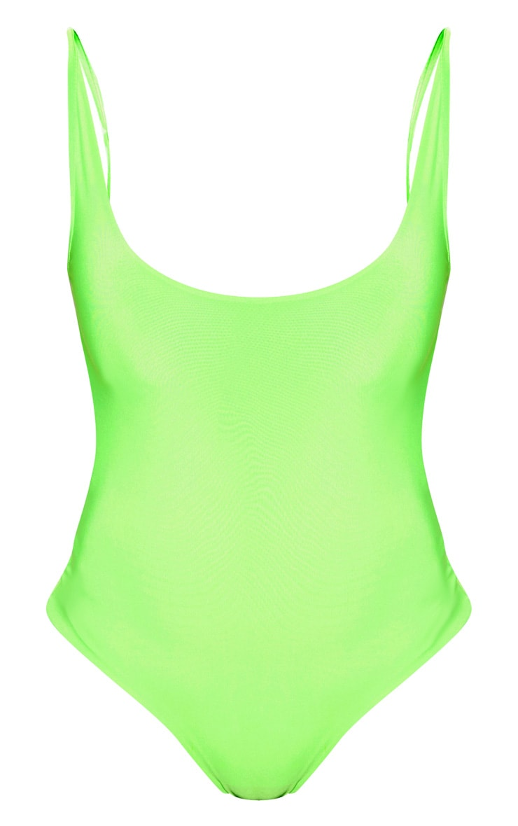 Neon Green Slinky Back Strap Detail Bodysuit  3