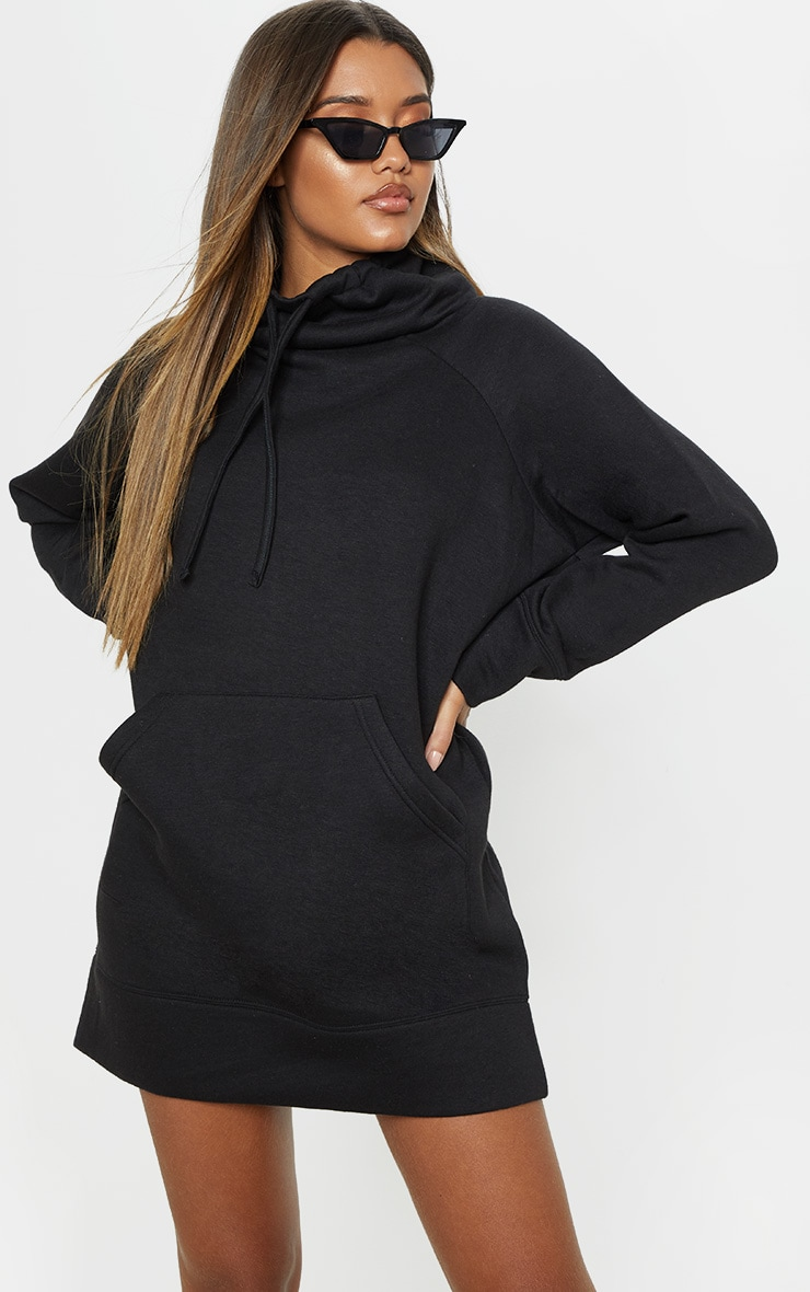 Black High Neck Pocket Jumper Dress 4