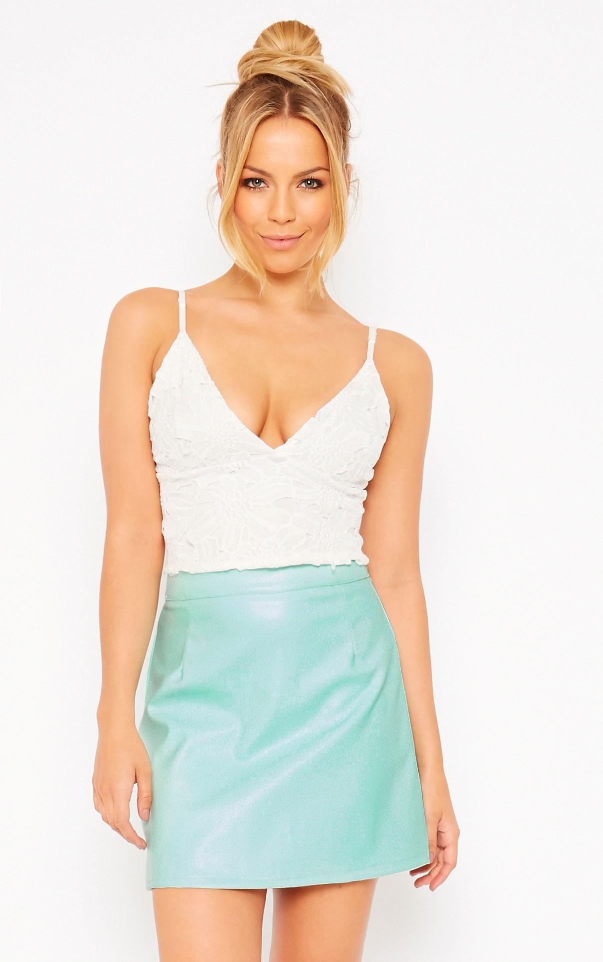 Rose Mint Faux Leather A-Line Mini Skirt 1