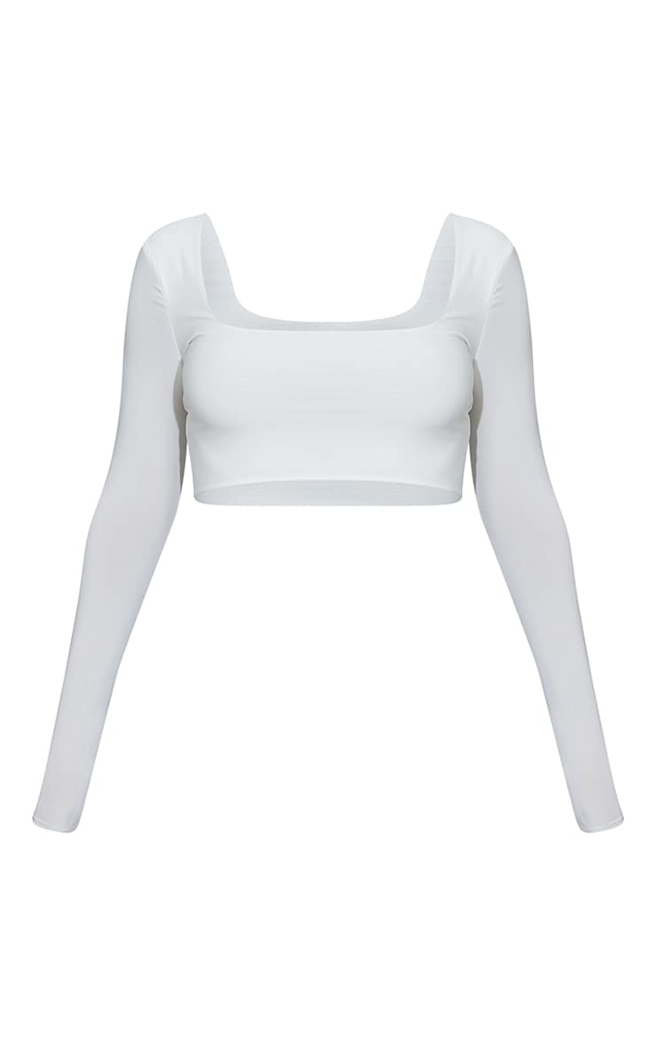 White Second Skin Square Neck Long Sleeve Crop Top  5