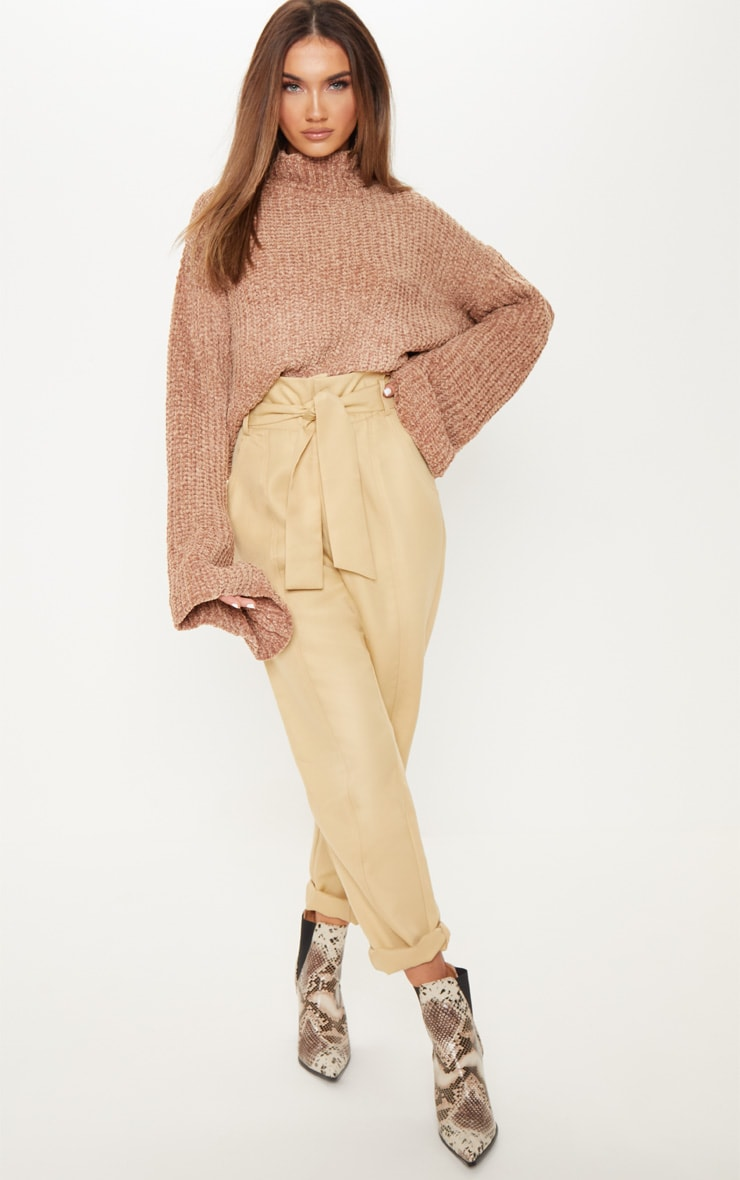 Camel Chenille Cropped High Neck Knitted Sweater  4