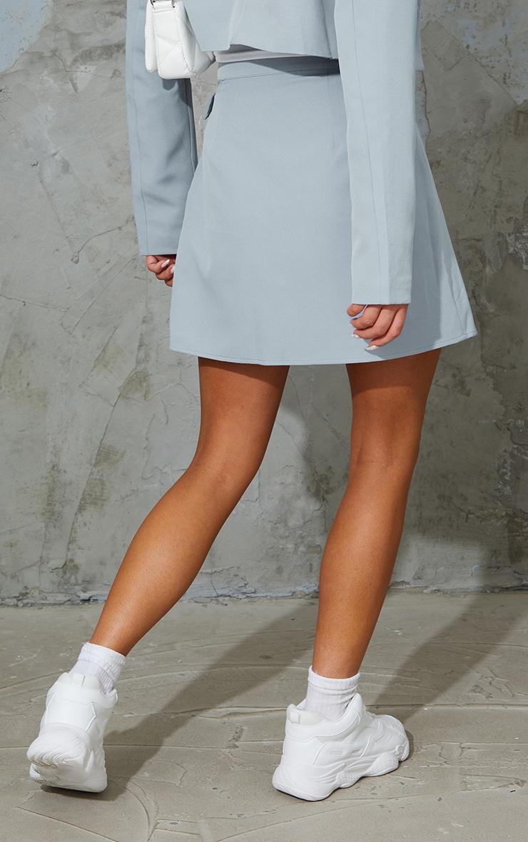 Grey Woven Belt Hem Pleated Wrap Over Mini Skirt 3