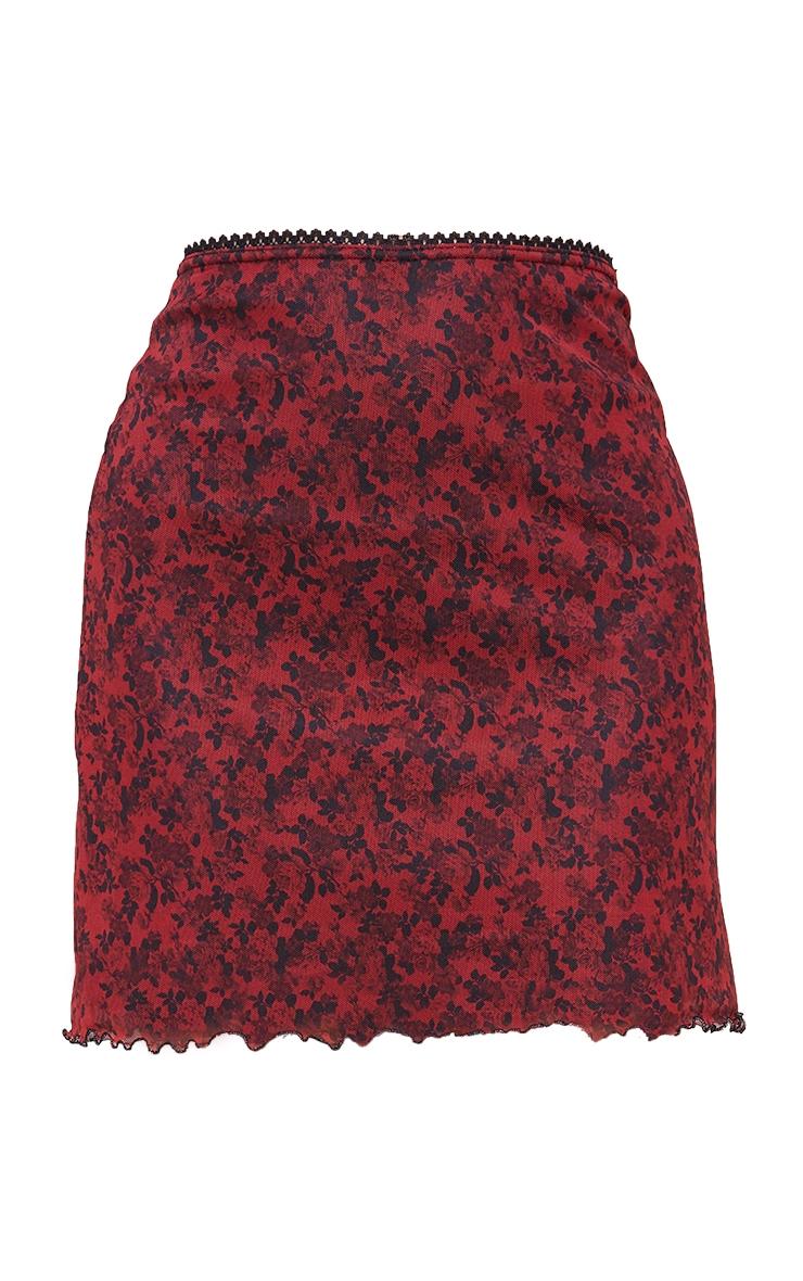 Red Ditsy Floral Mesh Lettuce Hem Skirt 6