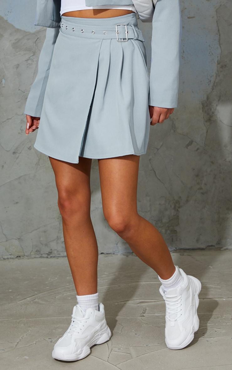 Grey Woven Belt Hem Pleated Wrap Over Mini Skirt 2