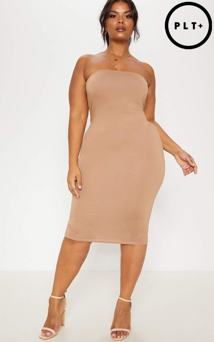 Plus Camel Jersey Bandeau Midi Dress 1