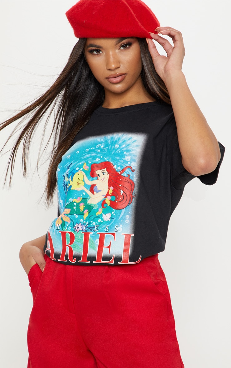 Black Disney Princess Ariel Print Oversized T-Shirt 1