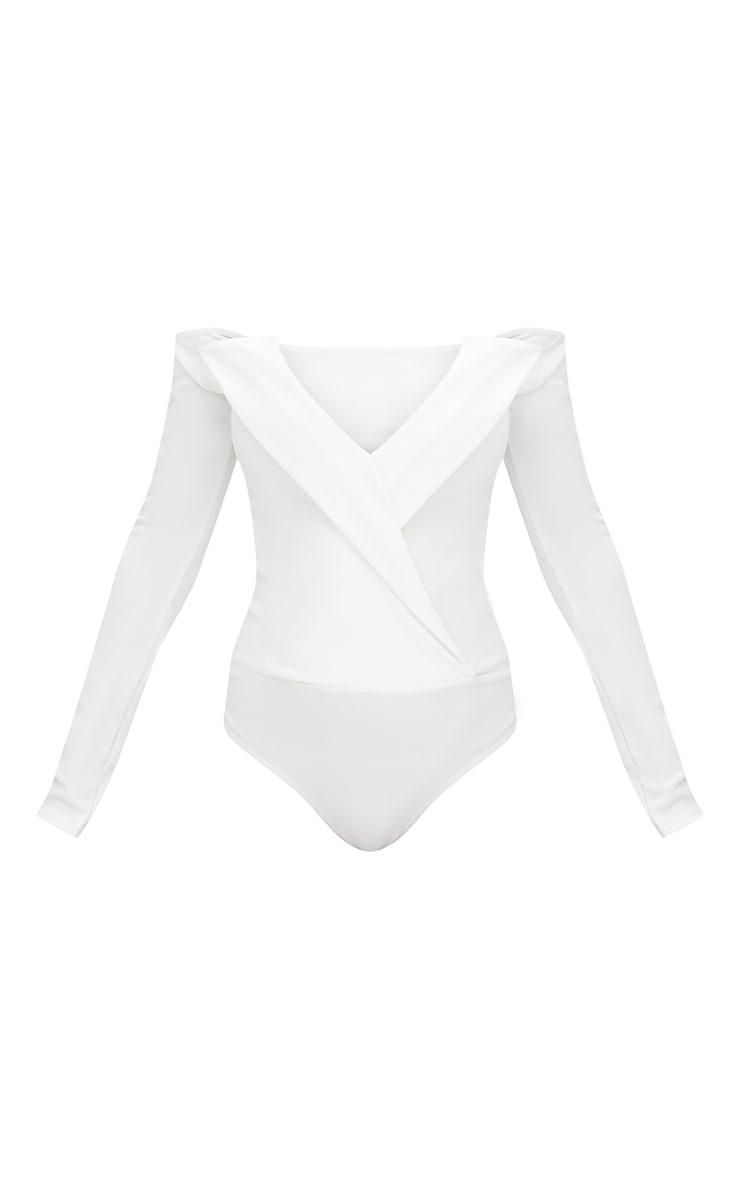 Cream Tux Blazer Detail Bardot Bodysuit  3