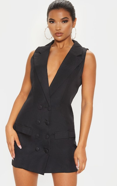 Black Extreme Plunge Sleeveless Blazer Dress