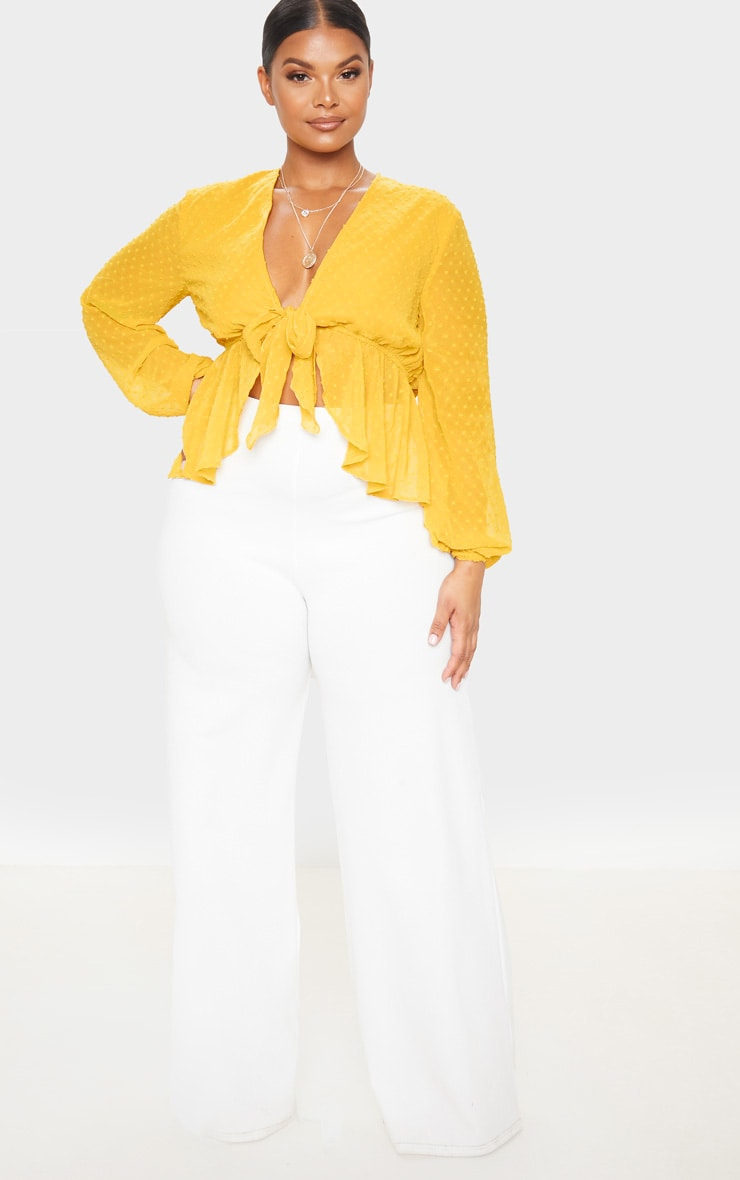 Plus Mustard Dobby Mesh Tie Front Blouse 4