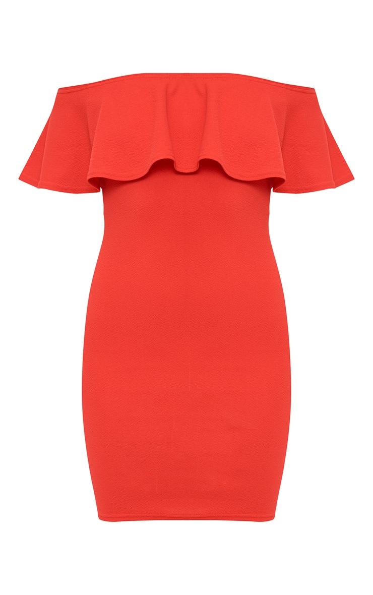 Red Frill Bardot Midi Dress 4