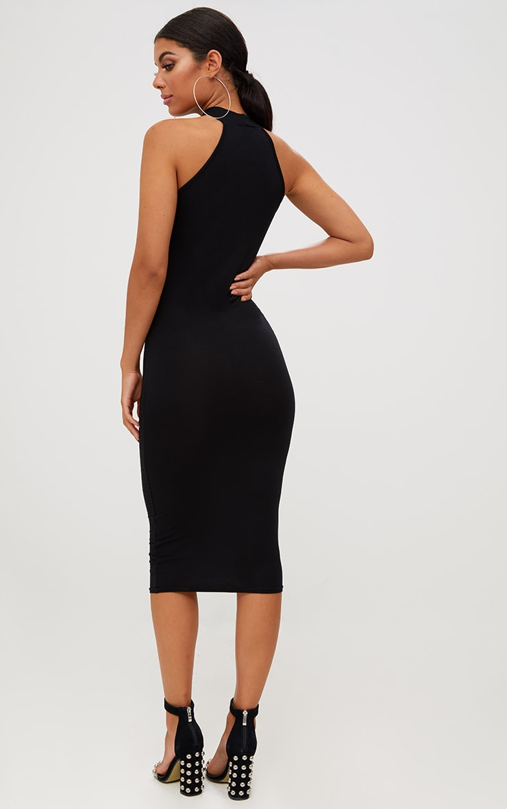 Black High Neck Midi Dress 2