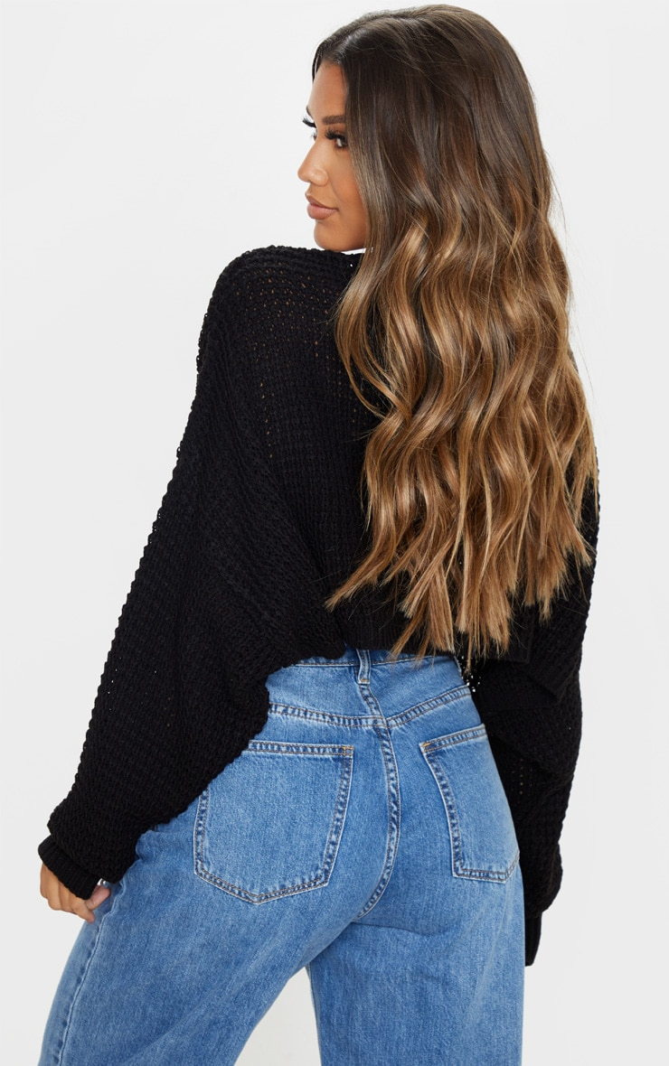 Black Fisherman Knitted Super Cropped Sweater 2