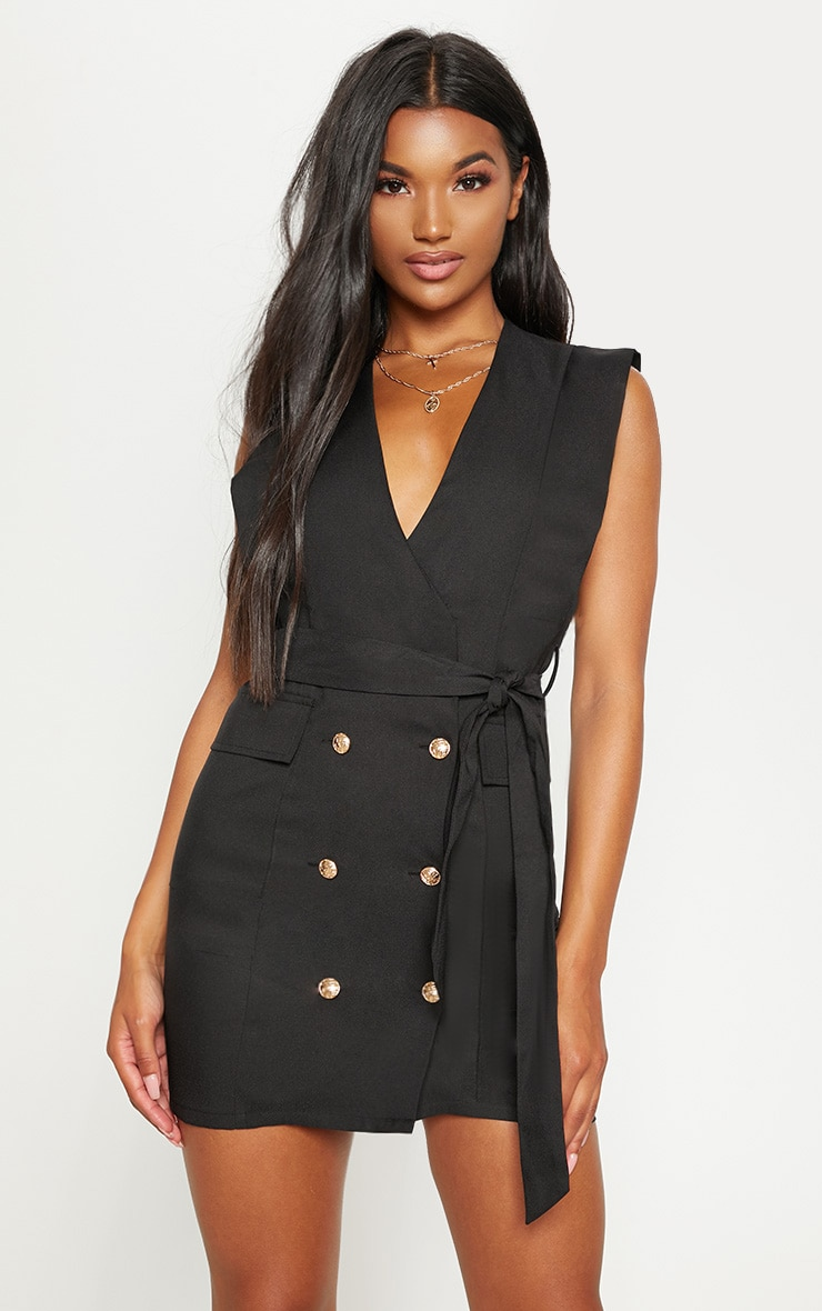 Black Sleeveless Gold Button Detail Blazer Dress