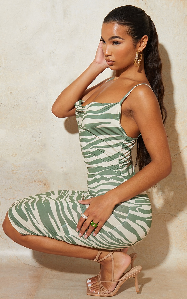 Green Zebra Print Strappy Ruched Bodycon Dress 3