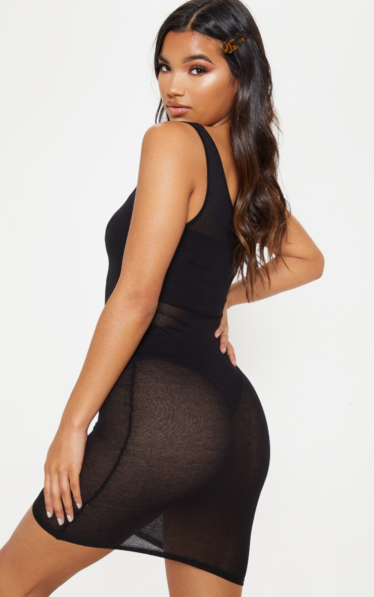 Black Knitted Light Weight Asymmetric  Dress  2