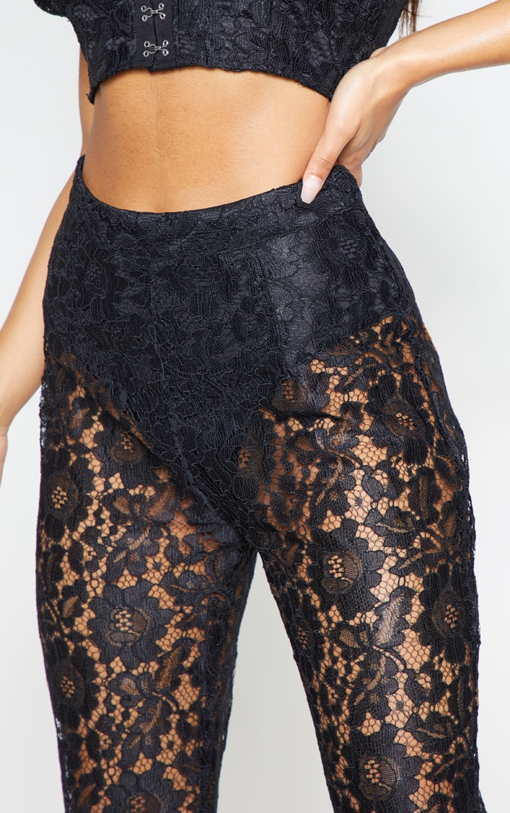Black Lace Sheer Flare Leg Trousers 5