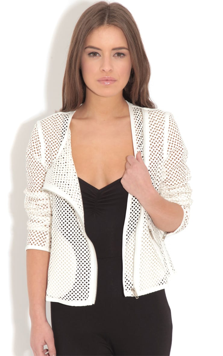 Donna White Leather Laser Cut Jacket 1