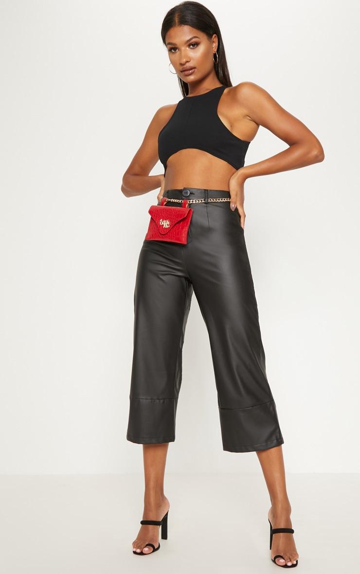 Black Faux Leather Culotte 1