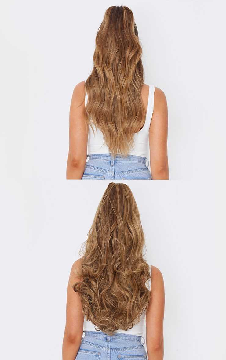 Lullabellz Ultimate Half Up Half Down 22 Curly Extension and Pony Set Mellow Brown 4