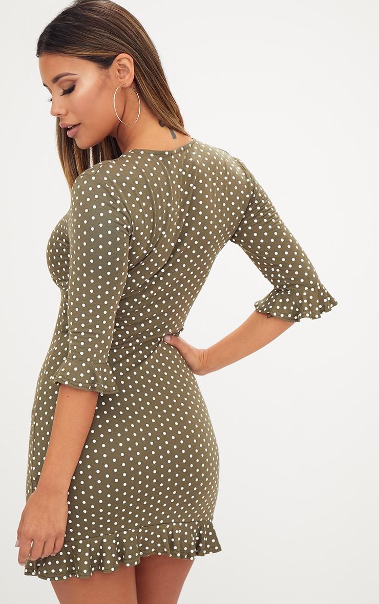 Khaki Polka Dot Frill Hem Shift Dress 2
