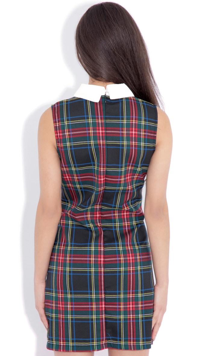 Arabella Green Tartan Mini Dress  2