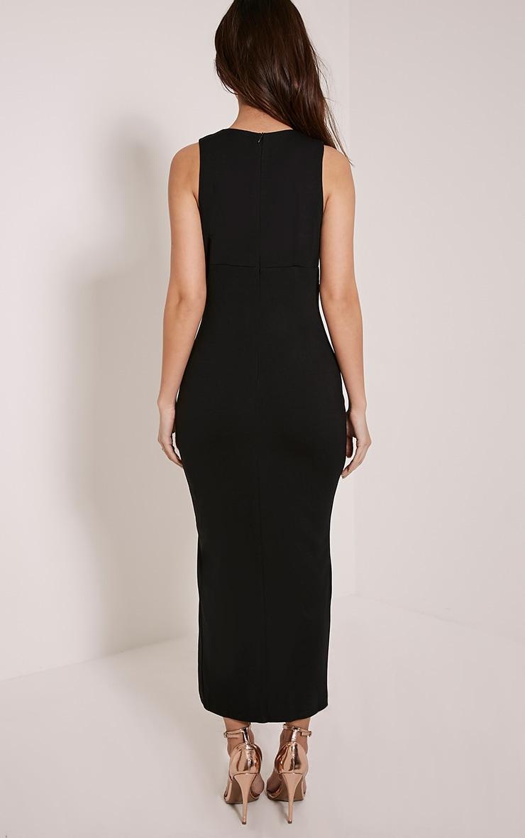 Ally Black Pin Detail Plunge Midi Dress 2