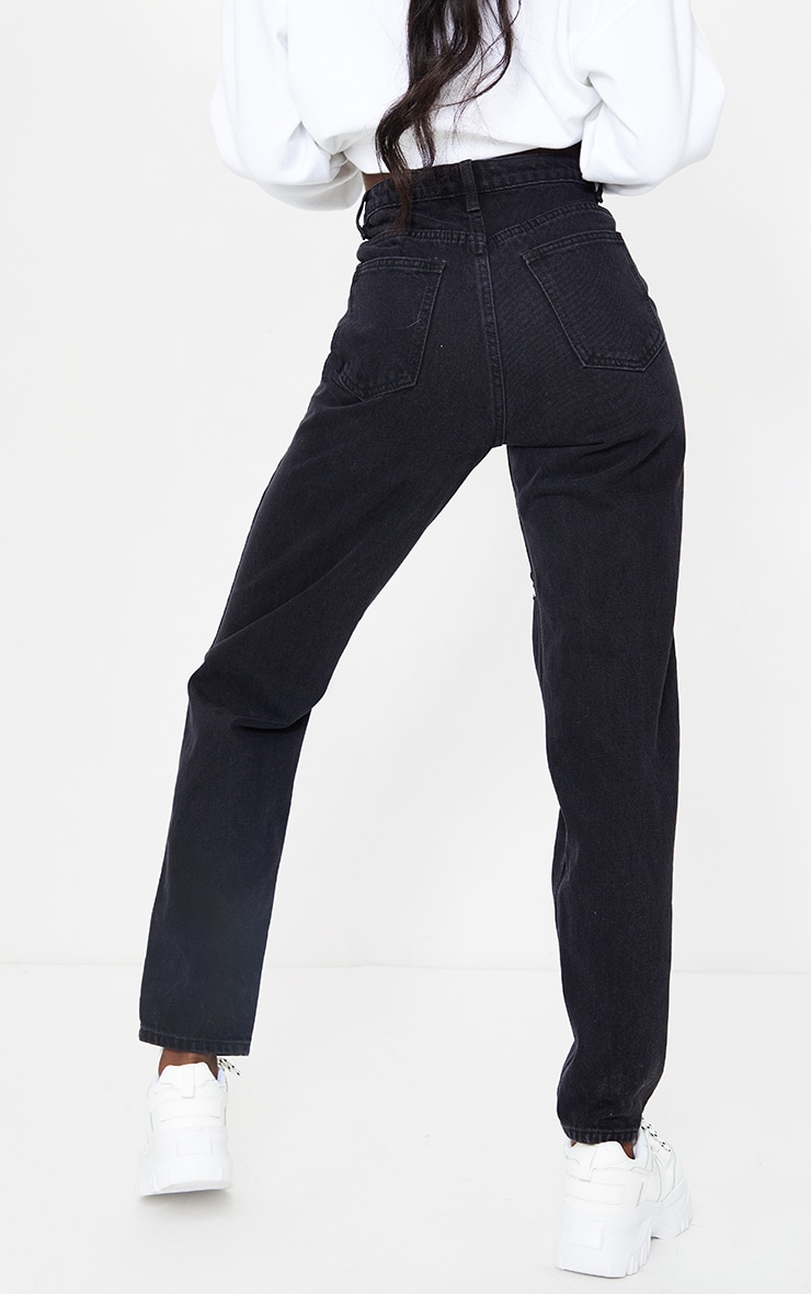 PRETTYLITTLETHING Tall Black Distressed Mom Jeans 3