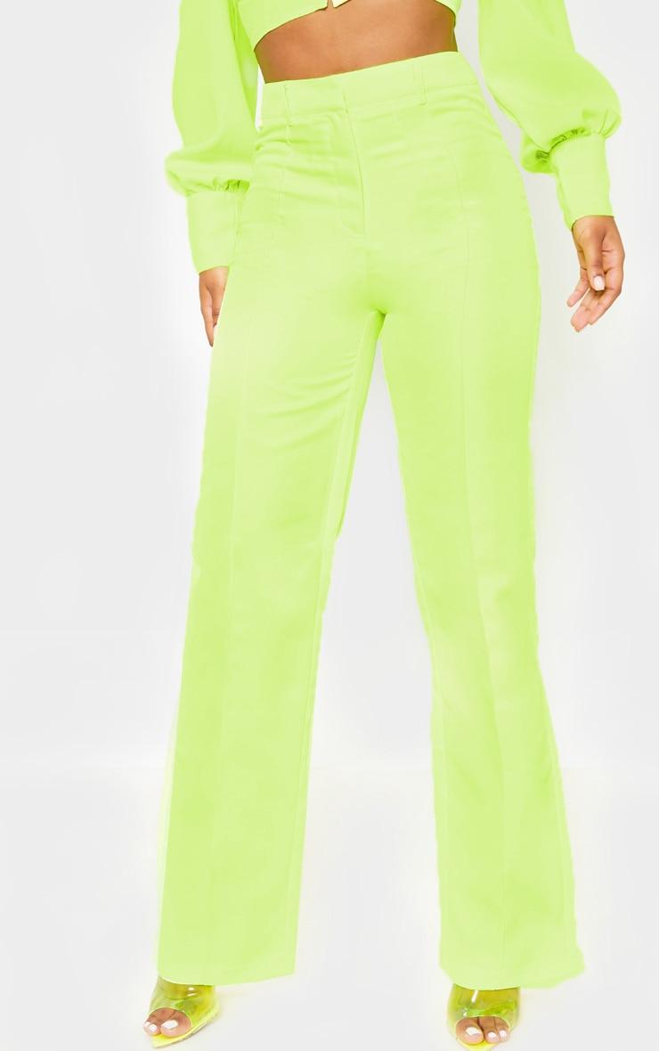 Neon Yellow Anala High Waisted Straight Leg Pants 2
