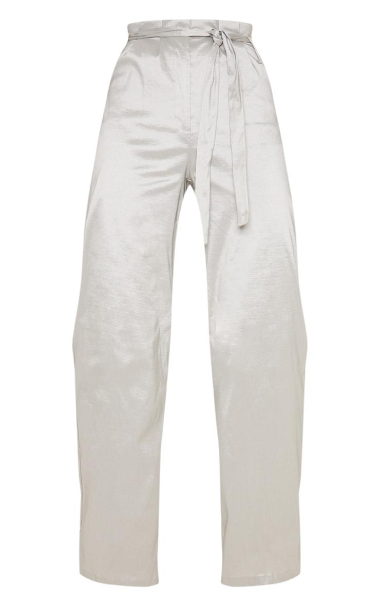 Silver Metallic Tie Waist Wide Leg Trouser 3