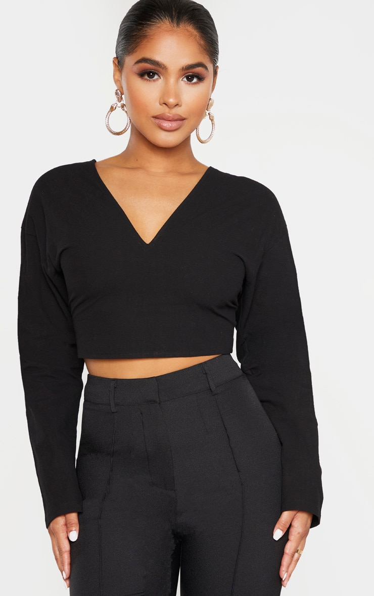Petite Black Tie Back Cropped Blouse 1