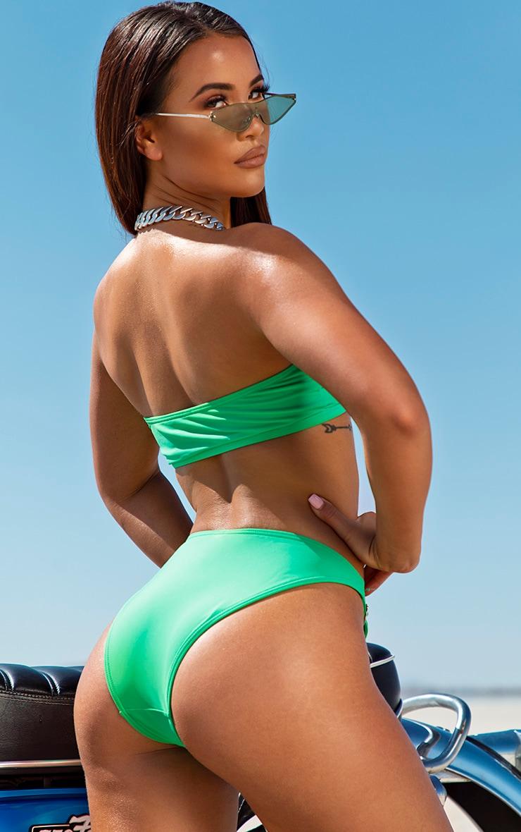Green Belted Bandeau Bikini Top 2