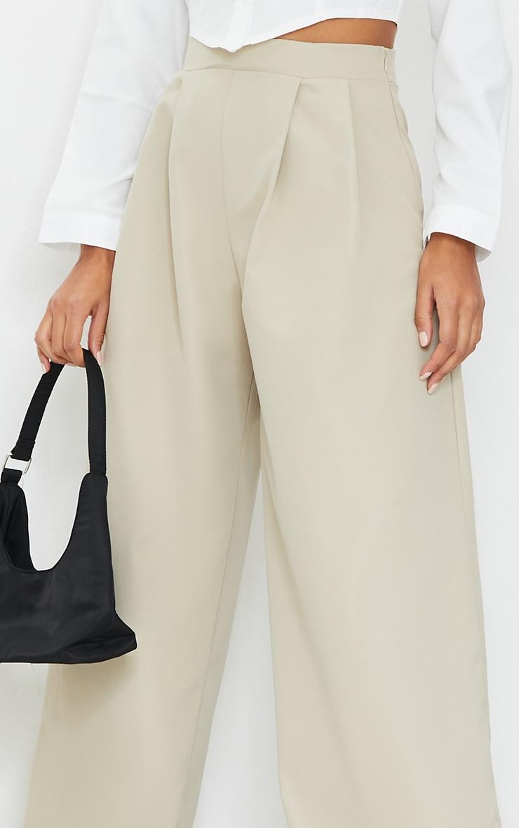 Stone Woven Pleat Detail Extreme Wide Leg Pants 4